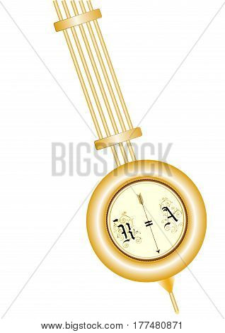 Brass pendulum of old clock isolated on white background closeup