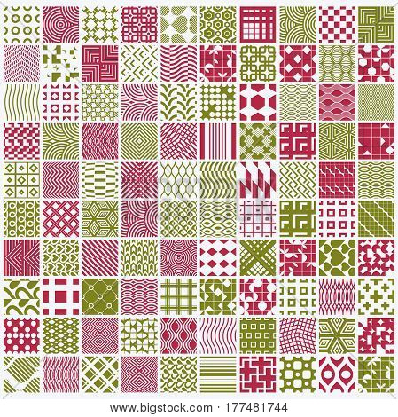 Graphic red and green ornamental tiles collection set of vector repeated patterns. 100 vintage art abstract textures