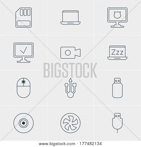 Vector Illustration Of 12 Laptop Icons. Editable Pack Of Storage, Antivirus, Laptop And Other Elements.