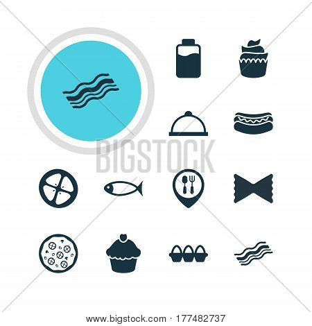 Vector Illustration Of 12 Cooking Icons. Editable Pack Of Muffin, Farfalle, Streetfood And Other Elements.