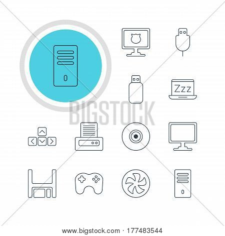 Vector Illustration Of 12 Computer Icons. Editable Pack Of Serial Bus, Gamepad, Mainframe And Other Elements.