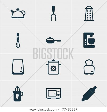 Vector Illustration Of 12 Kitchenware Icons. Editable Pack Of Bread, Steamer, Shaker And Other Elements.