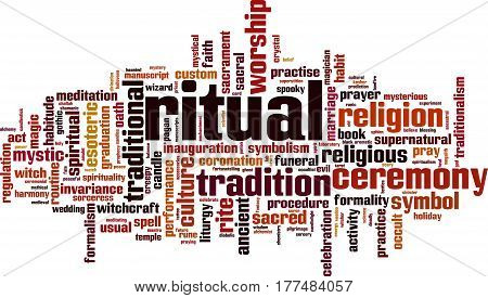 Ritual word cloud concept. Vector illustration on white