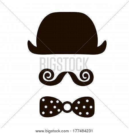 hat mustache and bowtie. Old fashioned gentleman accessories icon set. Vintage or hipster style. Vector illustration.