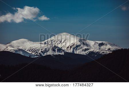 Hoverla in the Carpathians. Snow-capped peaks. landscape