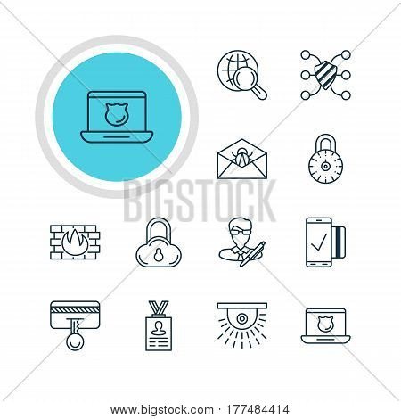 Vector Illustration Of 12 Data Icons. Editable Pack Of Safeguard, Safe Storage, Internet Surfing And Other Elements.