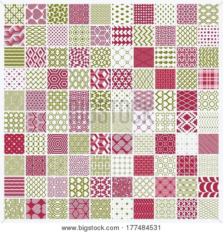 Vector red and green ornamental seamless backdrops set geometric patterns collection. Ornate textures made in modern simple style.