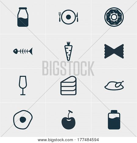 Vector Illustration Of 12 Dish Icons. Editable Pack Of Cake, Goblet, Cruet And Other Elements.