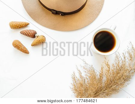 Brown hat bumps reeds and black coffee on a white background