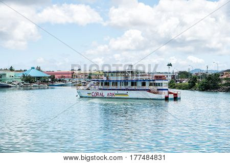 Excursion Boat, Touristic Vehicle At Moorage, St. John, Antigua