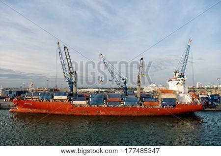 Big Blue Cargo Ship In French Island Bay, Saint Barthélemy