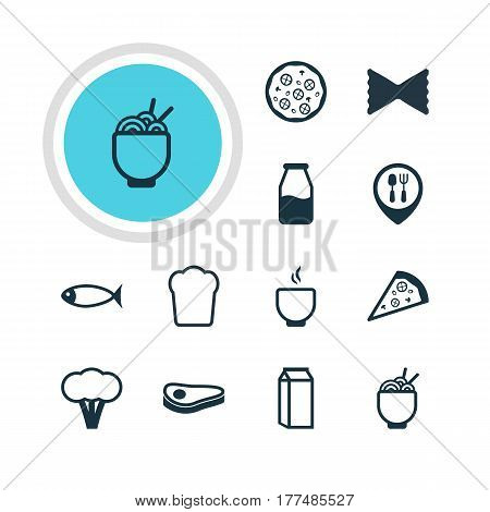 Vector Illustration Of 12 Eating Icons. Editable Pack Of Cotton, Pizzeria, Spaghetti And Other Elements.