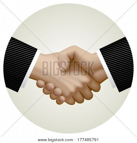 Business partnership handshake in circle. Shaking hands over the deal