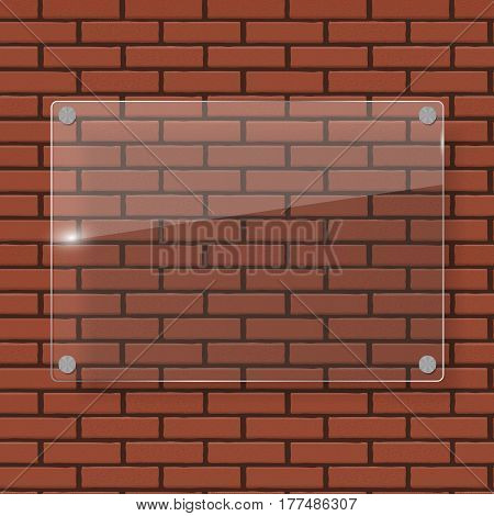 Glass Frame on Brick Wall Vector Illustration Background EPS10