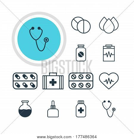 Vector Illustration Of 12 Health Icons. Editable Pack Of Treatment, Vial, Heart Rhythm And Other Elements.