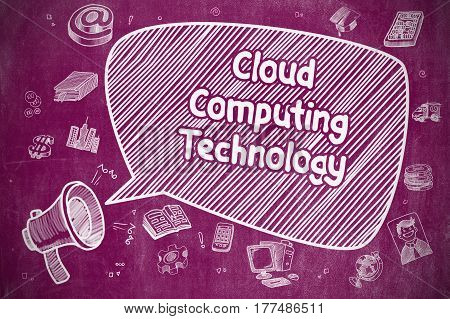 Shrieking Megaphone with Phrase Cloud Computing Technology on Speech Bubble. Hand Drawn Illustration. Business Concept.