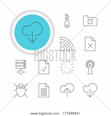 Vector Illustration Of 12 Network Icons. Editable Pack Of Cloud Download, Router, Server And Other Elements.