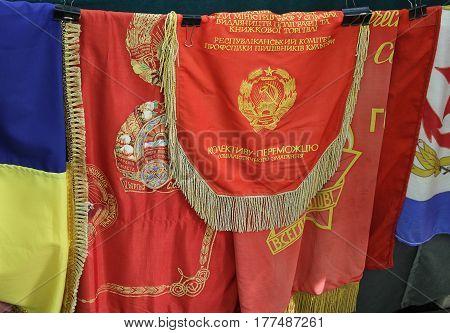 Kiev Ukraine - June 04 2016: Soviet flags and pennants are sold at the flea market. Inscription on the flag: