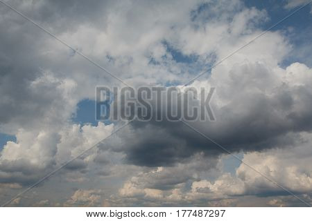 Dramatic cumulus clouds in thunderstorm weather. Nature