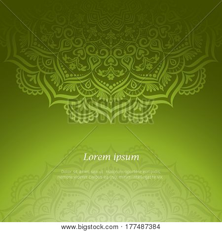Hand-drawn lace frame, mandala. Retro pattern can be used for wallpaper, pattern fills, web page background, surface textures - stock vector.