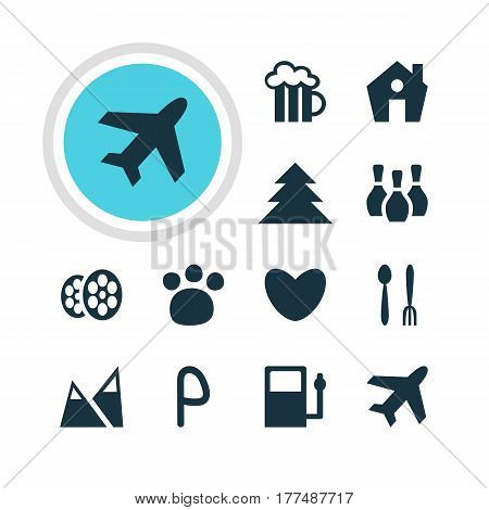 Vector Illustration Of 12 Location Icons. Editable Pack Of Aircraft, Skittles, Refueling And Other Elements.