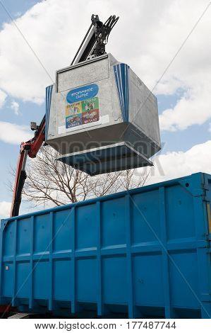Trash Can. Landfill. Crane For Loading. Ecology. Waste Management.