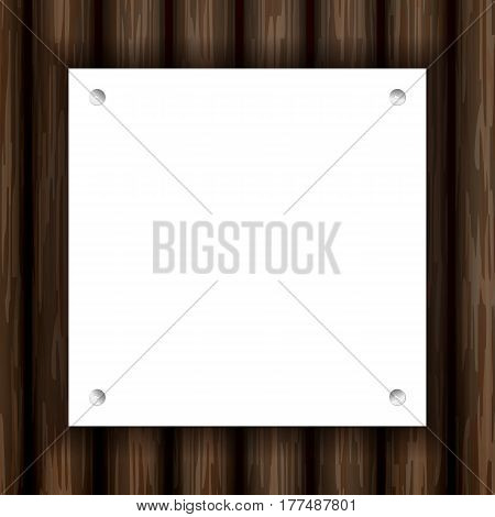 white note paper with pin on plank wood, vector illustration eps10
