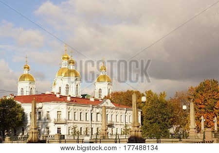 Nicholas-Epiphany Naval Cathedral in St. Petersburg on the Griboedov Canal.