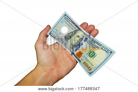 Money in the hand on the white background
