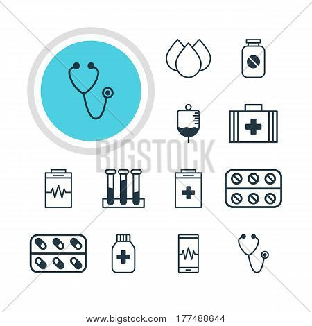 Vector Illustration Of 12 Health Icons. Editable Pack Of Medical Bag, Trickle, Medicine Jar And Other Elements.