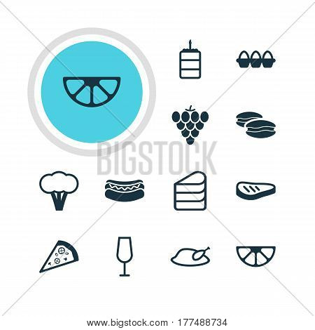 Vector Illustration Of 12 Meal Icons. Editable Pack Of Goblet, Vineyard, Lime And Other Elements.