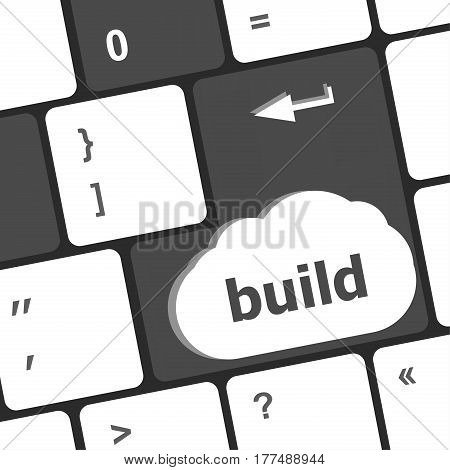 Computer Keyboard Keys With Build Enter Button