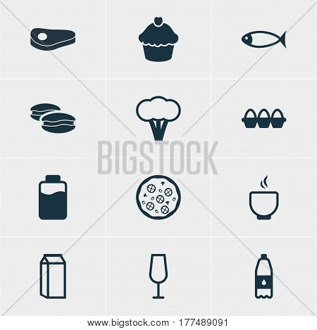 Vector Illustration Of 12 Eating Icons. Editable Pack Of Goblet, Biscuit, Seafood And Other Elements.