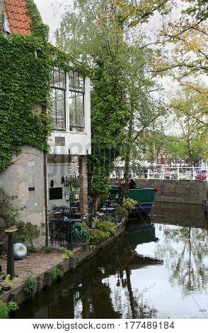 Delft, Vrouwenrecht A Street In Delft