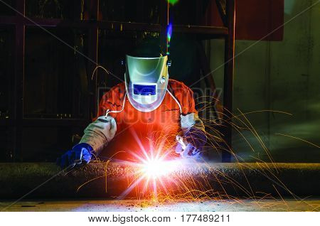 Pipe welding on the pipeline construction,Engineering welding the pipe for industrial