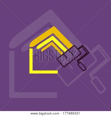 Home paint logo flat style consisting as line different color for use real estate design architect construction house repair building etc. Vector Illustration
