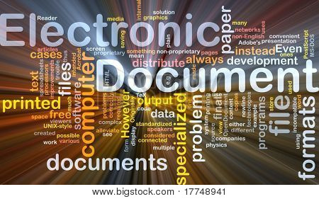 Background concept wordcloud illustration of electronic documents glowing light