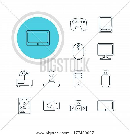 Vector Illustration Of 12 Laptop Icons. Editable Pack Of Game Controller, Screen, Movie Cam And Other Elements.