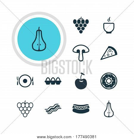 Vector Illustration Of 12 Dish Icons. Editable Pack Of Berry Type, Streetfood, Pizzeria And Other Elements.