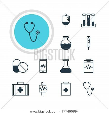 Vector Illustration Of 12 Medical Icons. Editable Pack Of Pulse, Vaccinator, Exigency And Other Elements.