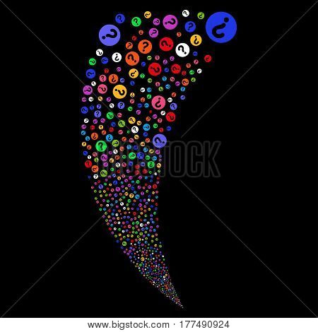 Query random fireworks stream. Vector illustration style is flat bright multicolored iconic symbols on a black background. Object fountain created from scattered pictographs.