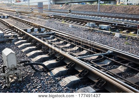Close up of the railway track with switch