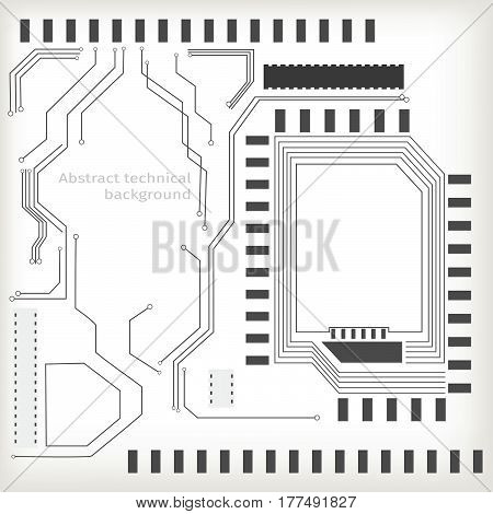 Vector lirht grey abstract tech background. Hi tech spacecraft motherboard and information transfer topic. Light effects are modern digital elements.