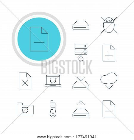 Vector Illustration Of 12 Network Icons. Editable Pack Of Removing File, Document Adding, Hard Drive Disk And Other Elements.