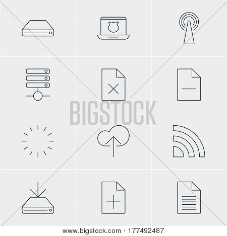 Vector Illustration Of 12 Web Icons. Editable Pack Of Secure Laptop, Server, Document Adding And Other Elements.