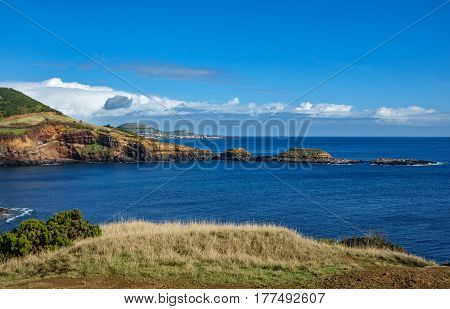 Wide angle view of volcanic coast in Terceira, Portugal