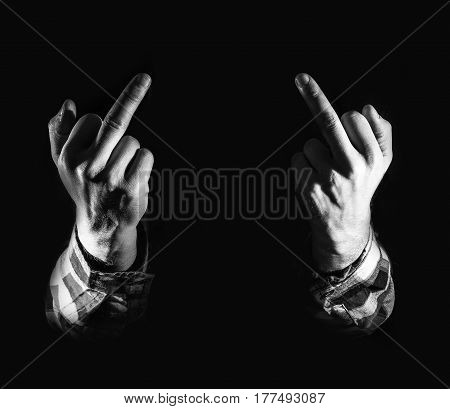 Angry Man, Hand With Middle Fingers, On Black Background, Concept Of Hatred, Dislike, Discontent