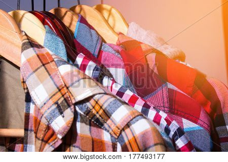 Hipster Plaid Shirts Hang On On The Store Rack In A Clothing Store, Fashion Shop Designer, Mall Shop