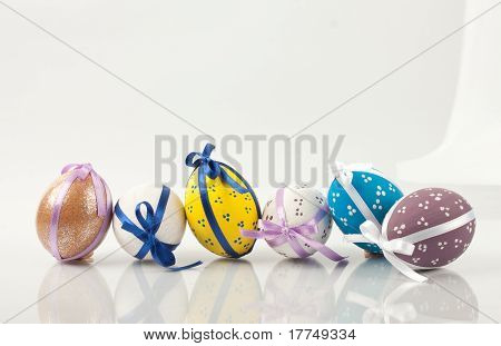 Hand painted eggs with ribbons