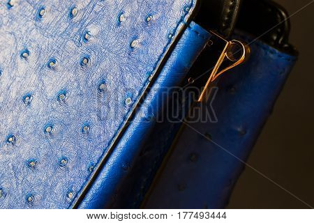 Close-up texture of fashion blue color handbag from genuine leather with embossed under the skin of Ostrich, gold detal for strap. Concept of shopping, manufacturing, lifestyle